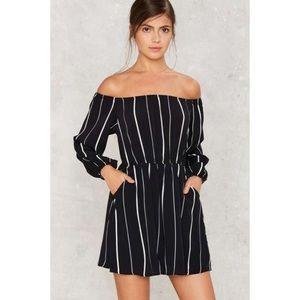 Nasty Gal Dresses - Nasty Gal Striped Off the Shoulder Mini Dress 77a1ba790
